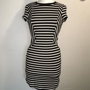 Monteau Cream & Black Striped Bodycon Dress Medium
